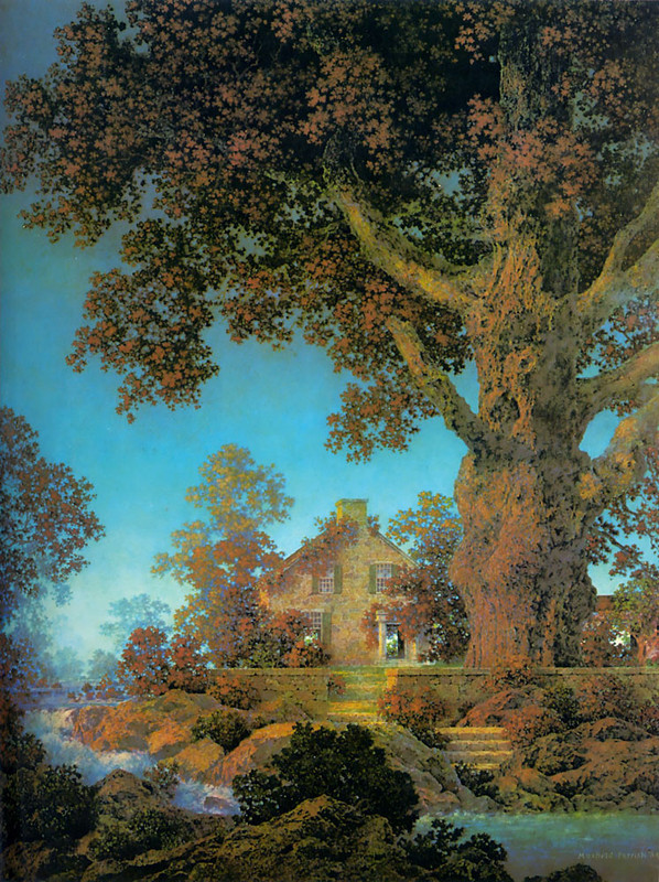Maxfield Parrish >> Morning Light  |  (Oil, artwork, reproduction, copy, painting).