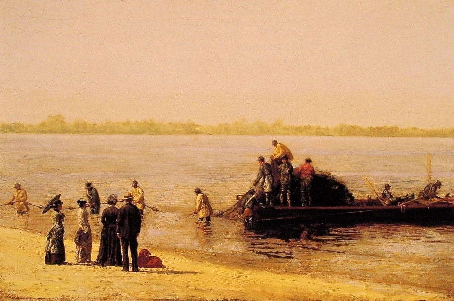 Thomas Eakins >> Shad Fishing at Gloucester on the Delaware River  |  (Oil, artwork, reproduction, copy, painting).