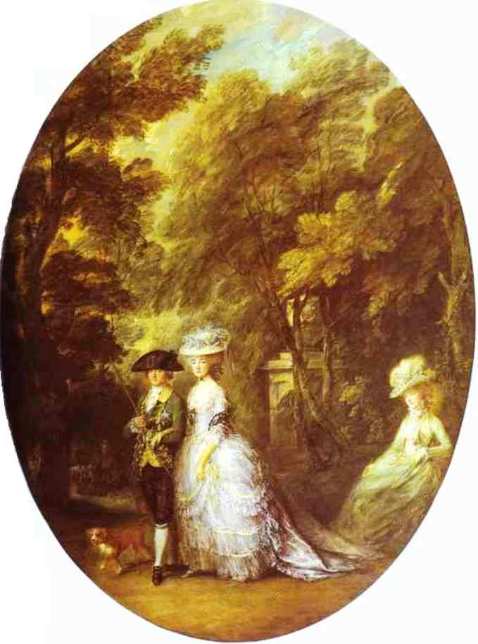 Thomas Gainsborough >> Portrait of Henry, Duke of Cumberland, with the Duchess of Cumberland and Lady Elizabeth Luttrell  |  (Oil, artwork, reproduction, copy, painting).