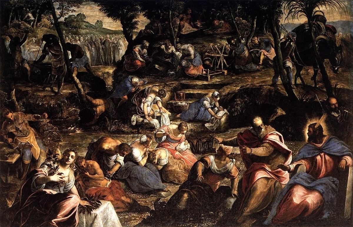 Tintoretto (Jacopo Comin) >> The Jews in the Desert  |  (Oil, artwork, reproduction, copy, painting).