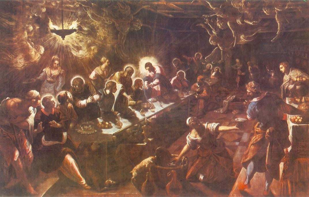 Tintoretto (Jacopo Comin) >> The Last Supper  |  (Oil, artwork, reproduction, copy, painting).