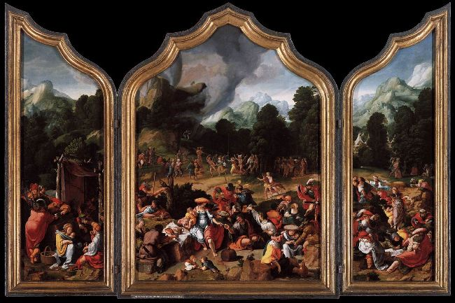 Lucas van Leyden >> Worshipping of the Golden Calf  |  (Oil, artwork, reproduction, copy, painting).