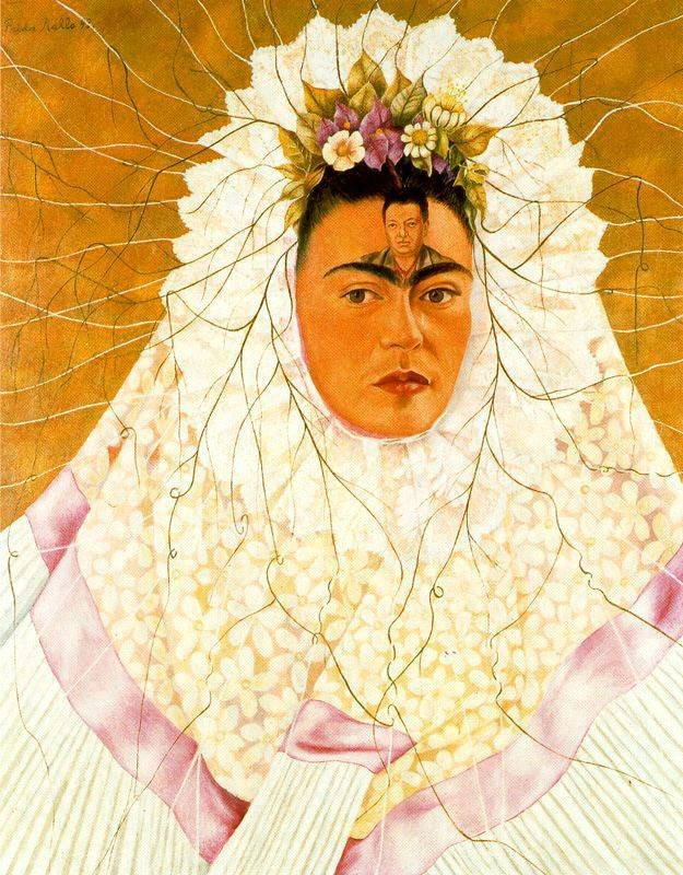 Frida Kahlo >> Diego en mi pensamiento (Frida de Tehuana)  |  (Oil, artwork, reproduction, copy, painting).