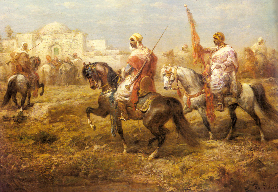 Adolf Schreyer >> Arab Cavalry Approaching An Oasis  |  (Oil, artwork, reproduction, copy, painting).