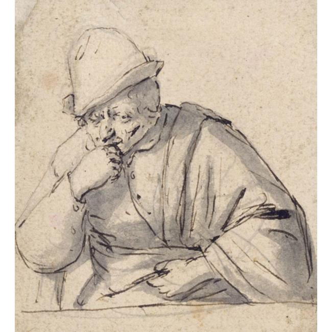 Adriaen van Ostade >> Half-Length Study Of A Man, Possibly A Self-Portrait  |  (Drawing, artwork, reproduction, copy, painting).