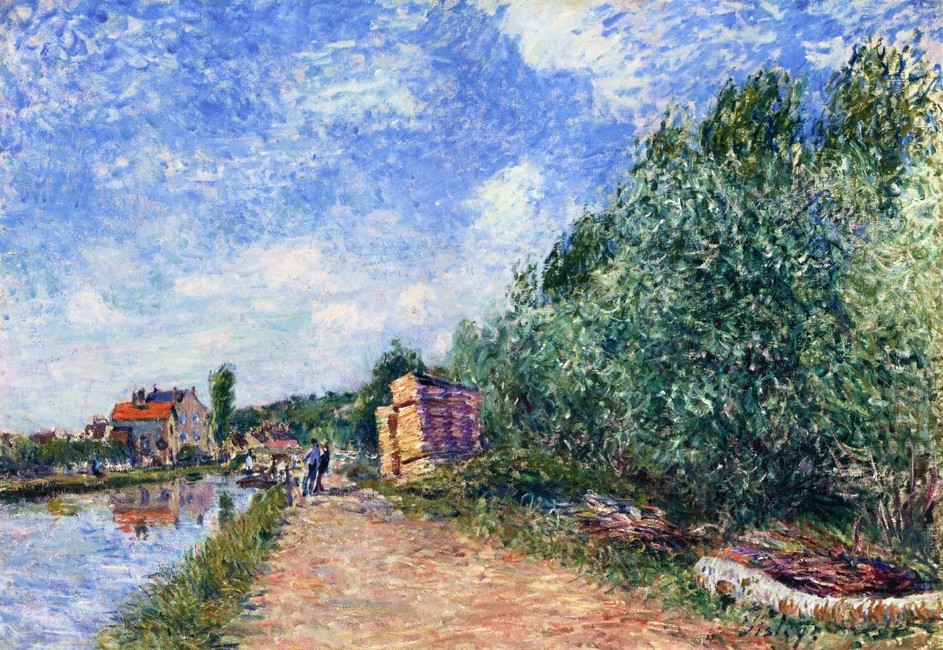 Alfred Sisley >> Canal du Loing - Chemin de Halage  |  (Oil, artwork, reproduction, copy, painting).