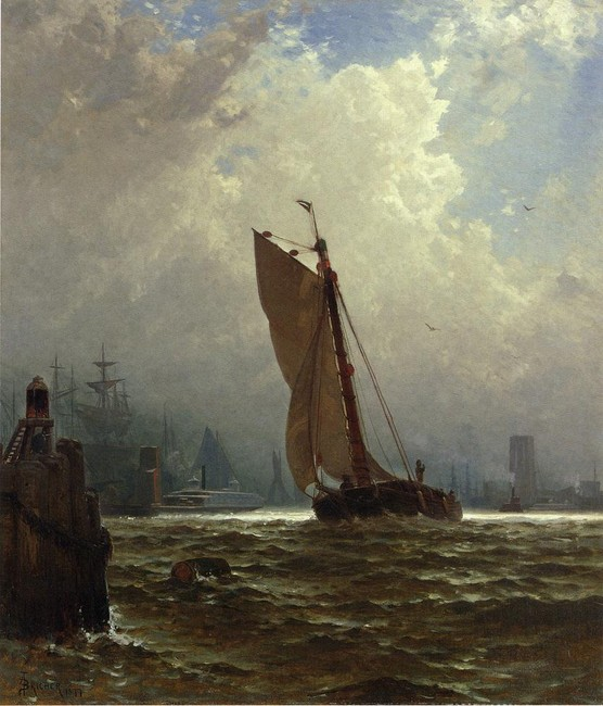 Alfred Thompson Bricher >> New York Harbor with the Brooklyn Bridge Under Construction  |  (Oil, artwork, reproduction, copy, painting).