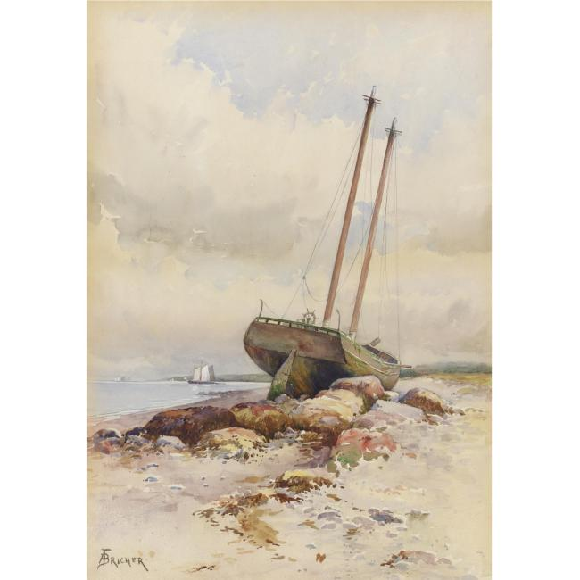 Alfred Thompson Bricher >> Schooner High and Dry  |  (Watercolor, artwork, reproduction, copy, painting).