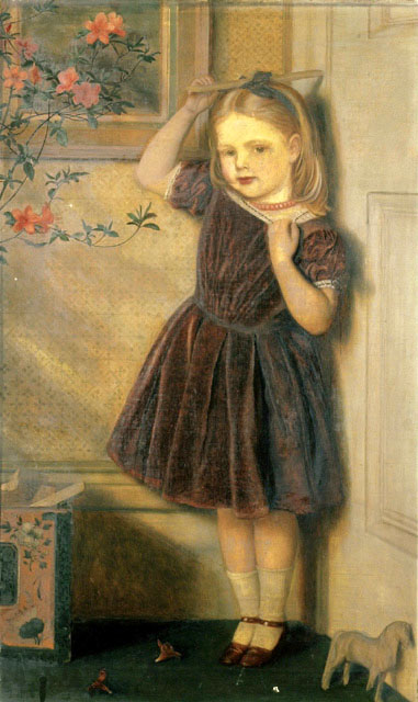 Arthur Hughes >> Cecily Ursula - aged three years  |  (Oil, artwork, reproduction, copy, painting).