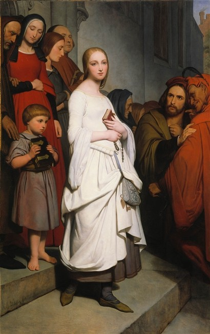 Ary Scheffer >> Marguerite Leaving Church  |  (Oil, artwork, reproduction, copy, painting).