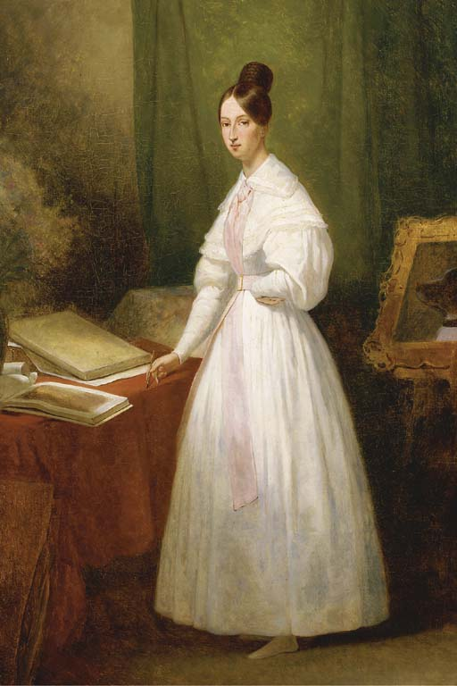 Ary Scheffer >> Portrait de la princesse Marie d'Orléans devant ses carnets de dessins  |  (Oil, artwork, reproduction, copy, painting).