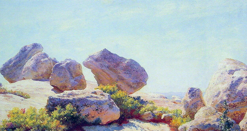 Charles Courtney Curran >> Boulders on Bear Cliff  |  (Oil, artwork, reproduction, copy, painting).
