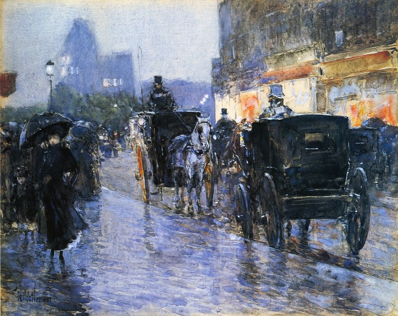 Frederick Childe Hassam >> Horse Drawn Cabs at Evening, New York  |  (Watercolor, artwork, reproduction, copy, painting).