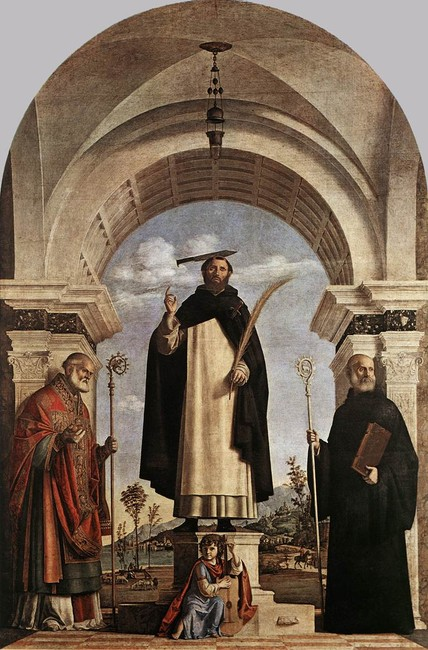 Giambattista Cima da Conegliano >> St Peter Martyr with St Nicholas of Bari, St Benedict and an Angel Musician  |  (Oil, artwork, reproduction, copy, painting).