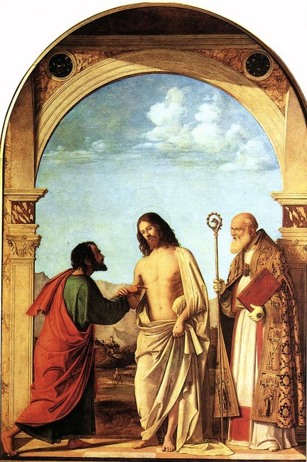Giambattista Cima da Conegliano >> The Incredulity of St. Thomas with St. Magno Vescovo  |  (Oil, artwork, reproduction, copy, painting).