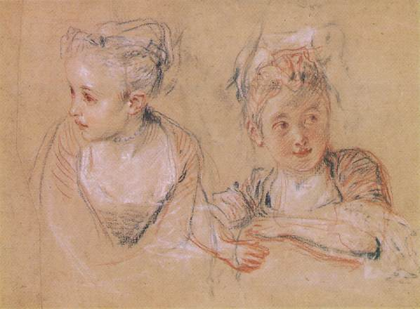 Jean-Antoine Watteau >> Two Studies of the Head and Shoulders of a Little Girl  |  (Oil, artwork, reproduction, copy, painting).
