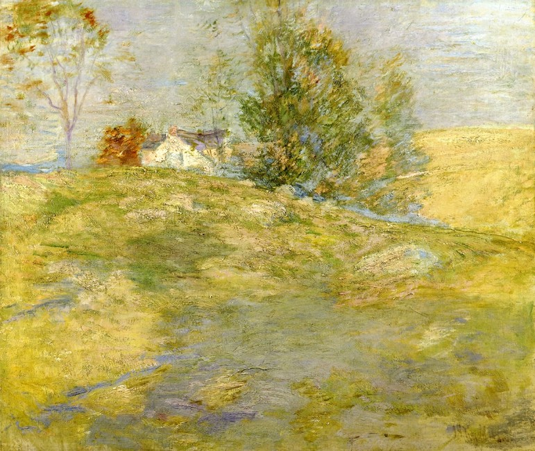 John Henry Twachtman >> Artist's Home In Autumn, Greenwich, Connecticut  |  (Oil, artwork, reproduction, copy, painting).