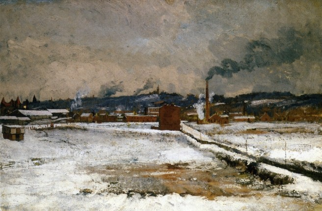 John Henry Twachtman >> Winter, Mill Creek Valley, Cincinnati  |  (Oil, artwork, reproduction, copy, painting).
