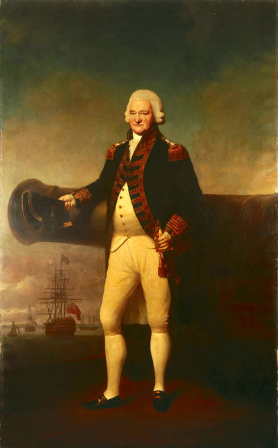 Lemuel Francis Abbott >> Sir Peter Parker Bt, 1721-1811, Admiral of the Fleet  |  (Oil, artwork, reproduction, copy, painting).