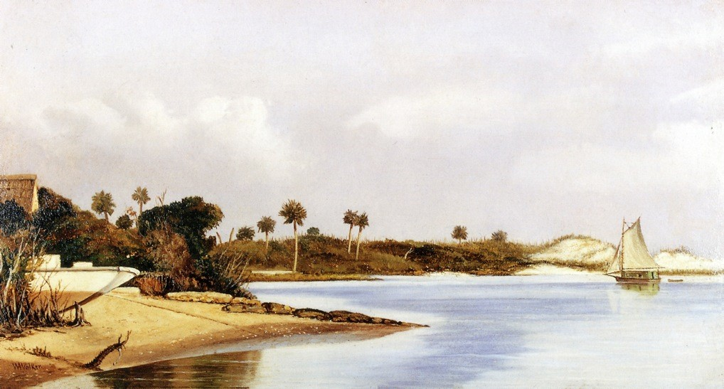 William Aiken Walker >> Florida Beach Scene With Beached Boat And Sailboat In Water  |  (Oil, artwork, reproduction, copy, painting).