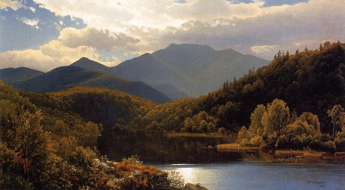 William Trost Richards >> View in the White Mountains (aka The High Peaks, Adirondacks)  |  (Oil, artwork, reproduction, copy, painting).
