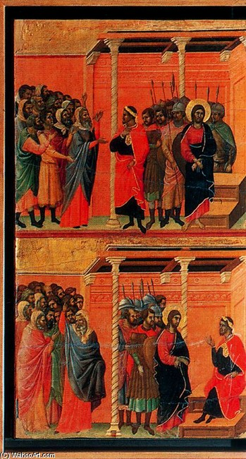 Duccio di Buoninsegna >> La Maestá. Cristo acusado por los fariseos y Cristo interrogado por Pilatos  |  (Tempera, artwork, reproduction, copy, painting).