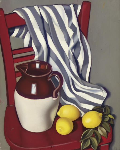Tamara de Lempicka >> Cruche et citrons sur une chaise  |  (Oil, artwork, reproduction, copy, painting).