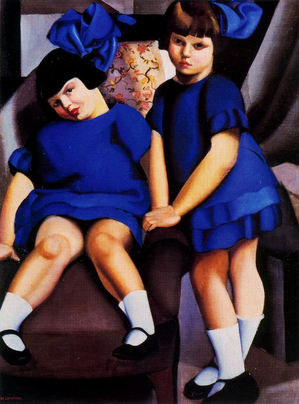 Tamara de Lempicka >> Portrait de deux fillettes aux rubans bleus  |  (Oil, artwork, reproduction, copy, painting).