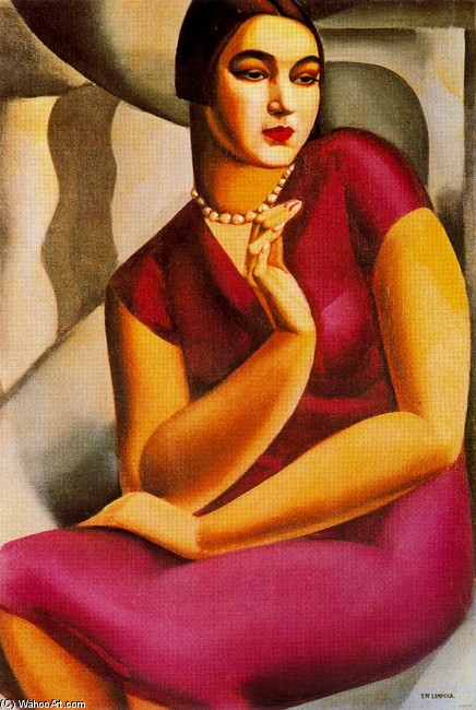 Tamara de Lempicka >> Portrait de la duchesse de Valmy  |  (Oil, artwork, reproduction, copy, painting).
