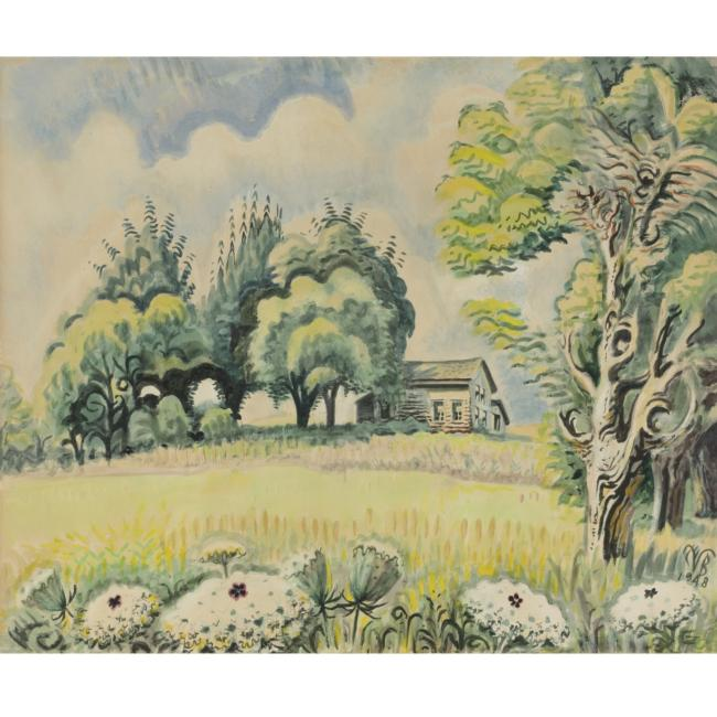 Charles Burchfield >> Little House In August - East Of Line Lake - Western New York  |  (Drawing, artwork, reproduction, copy, painting).