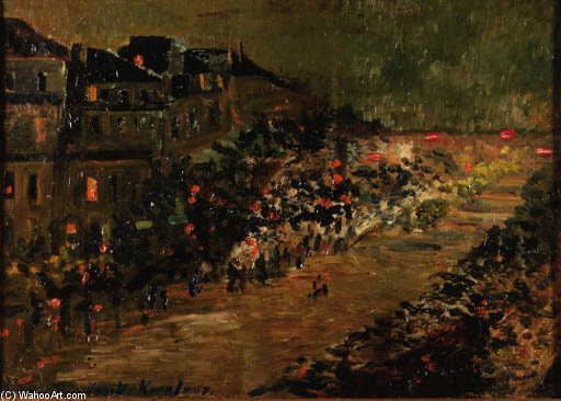Constantin Alexeevich Korovin >> Paris by Night - Boulevard des Italiens  |  (Drawing, artwork, reproduction, copy, painting).