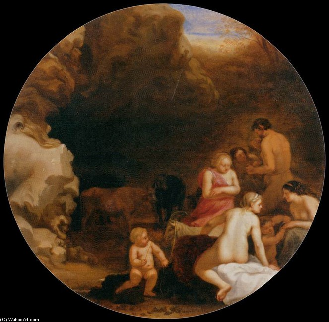 Cornelis van Poelenburgh >> Nymphs and Satyrs at the Entrance of a Grotto  |  (Drawing, artwork, reproduction, copy, painting).