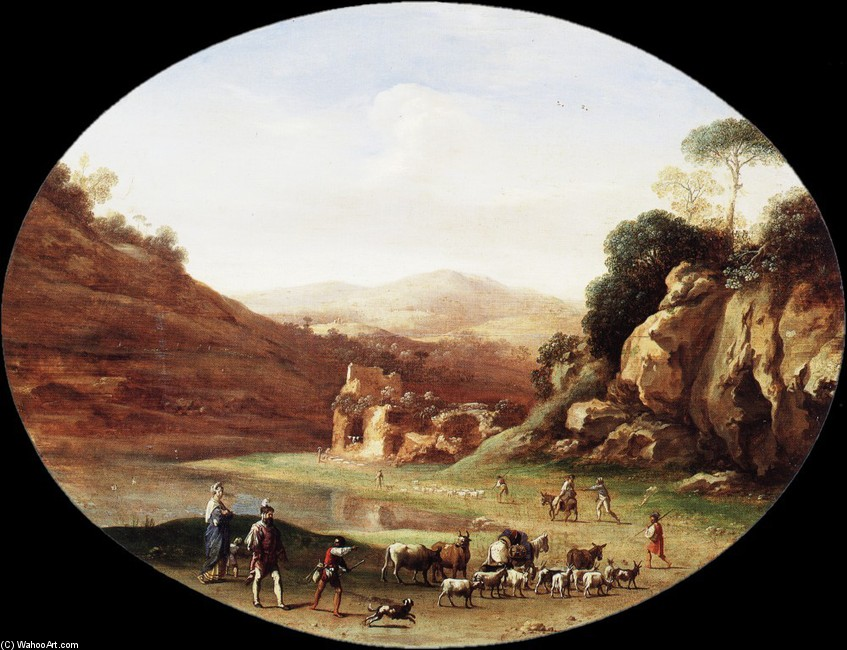 Cornelis van Poelenburgh >> Valley with Ruins and Figures  |  (Drawing, artwork, reproduction, copy, painting).