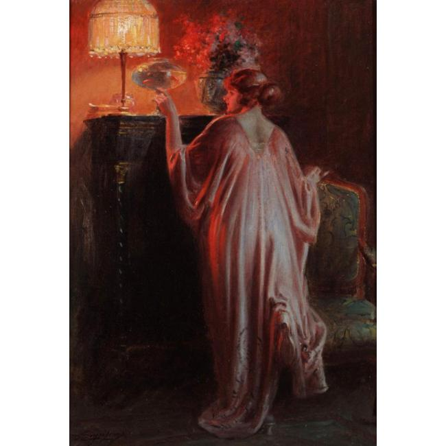 Delphin Enjolras >> Interior Scene With A Young Woman  |  (Drawing, artwork, reproduction, copy, painting).