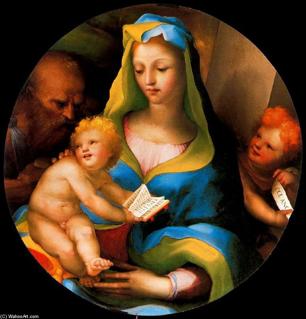 Domenico Beccafumi >> The Virgin and Child with Saint Jerome and San John  |  (Drawing, artwork, reproduction, copy, painting).
