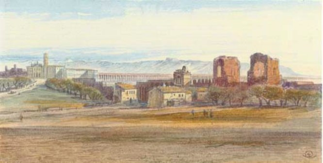Edward Lear >> St John Lateran And The Claudian Aqueduct, Rome, Italy  |  (Drawing, artwork, reproduction, copy, painting).