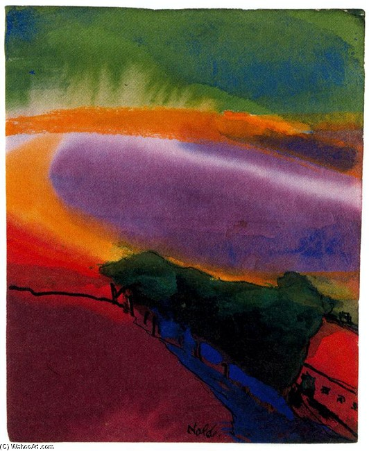 Emil Nolde >> Landscape (Red-Yellow-Green)  |  (, artwork, reproduction, copy, painting).