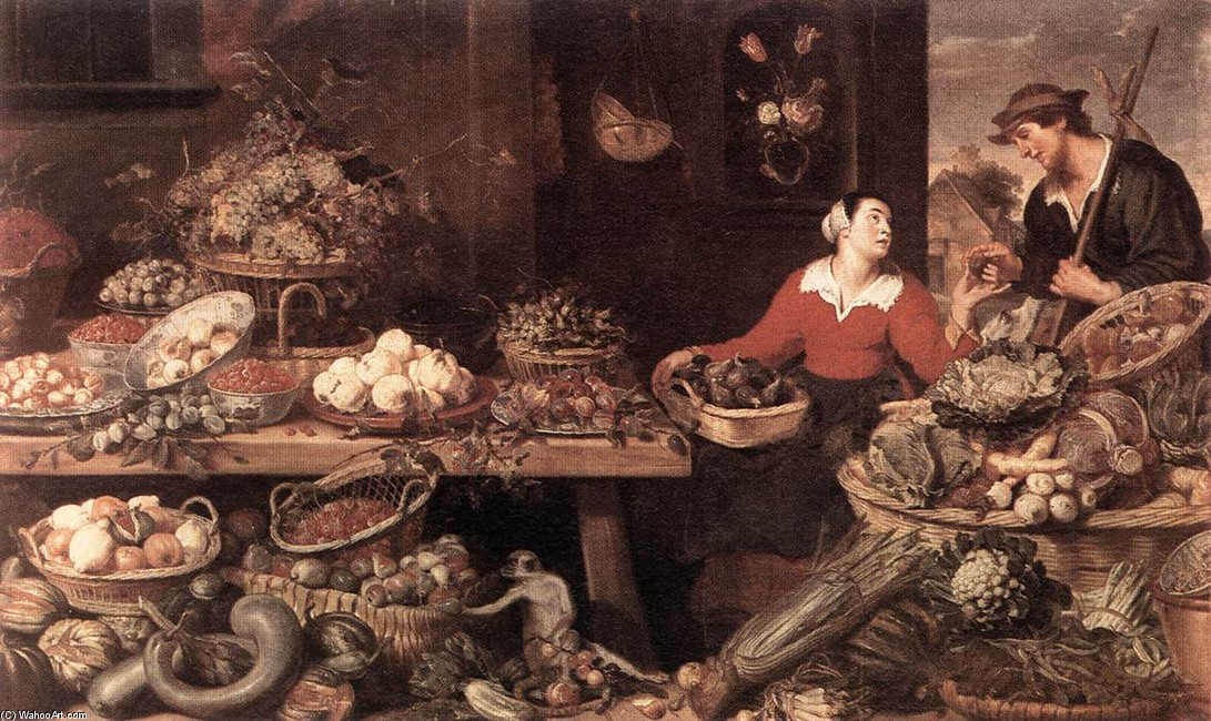 Frans Snyders >> Fruit and Vegetable Stall  |  (, artwork, reproduction, copy, painting).