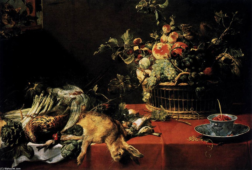 Frans Snyders >> Still-Life with Fruit Basket and Game  |  (, artwork, reproduction, copy, painting).
