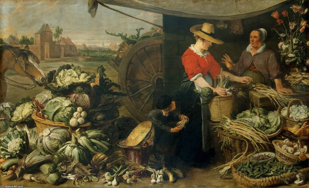 Frans Snyders >> Vegetable Stall  |  (, artwork, reproduction, copy, painting).