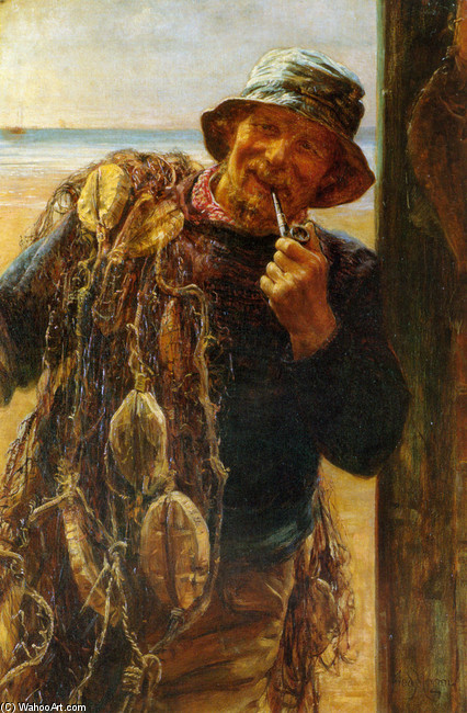 Frederick Morgan >> A Jovial Fisherman  |  (, artwork, reproduction, copy, painting).