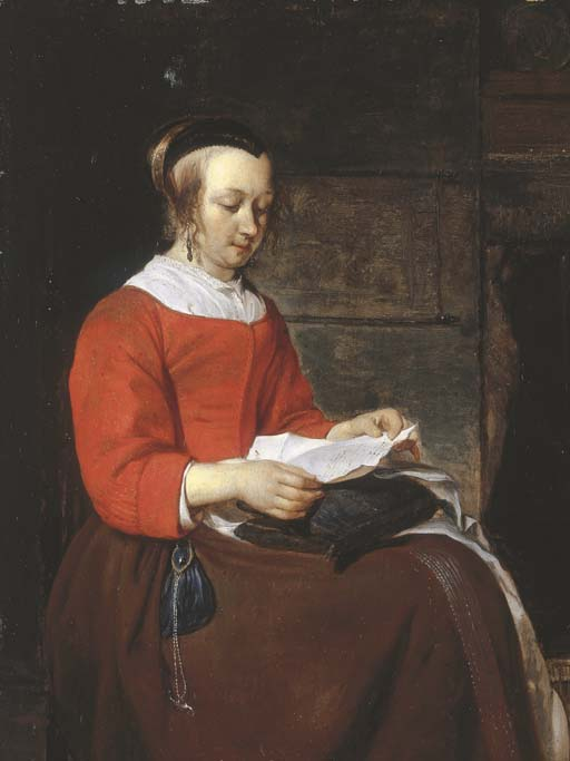Gabriel Metsu >> A young woman seated in an interior, reading a letter  |  (, artwork, reproduction, copy, painting).