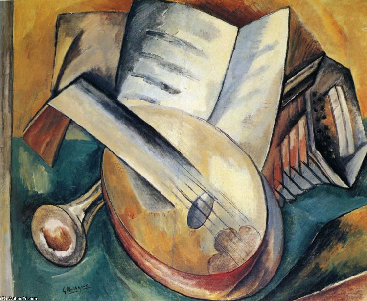 Georges Braque >> Still Life With Musical Instruments  |  (, artwork, reproduction, copy, painting).