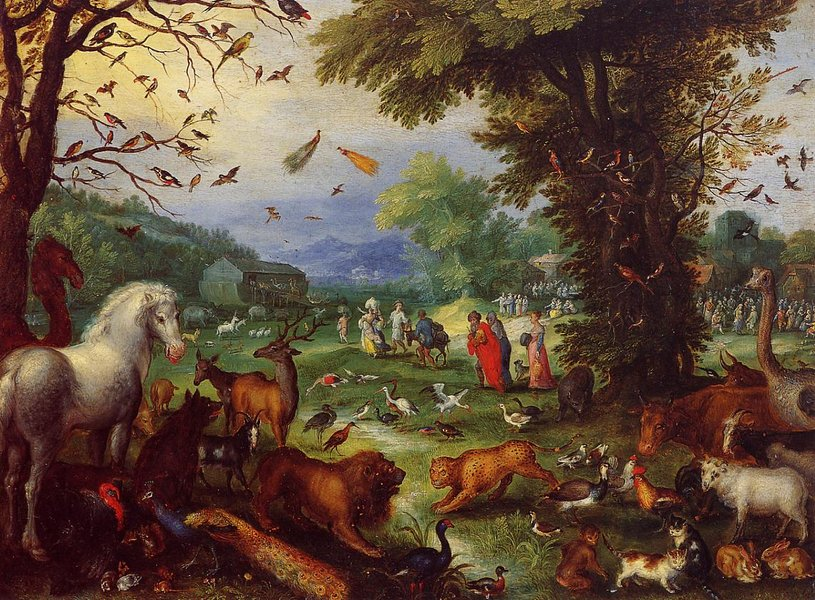 Jan Bruegel the Elder >> Landscape of Paradise and the Loading of the Animals in Noah's Ark  |  (, artwork, reproduction, copy, painting).