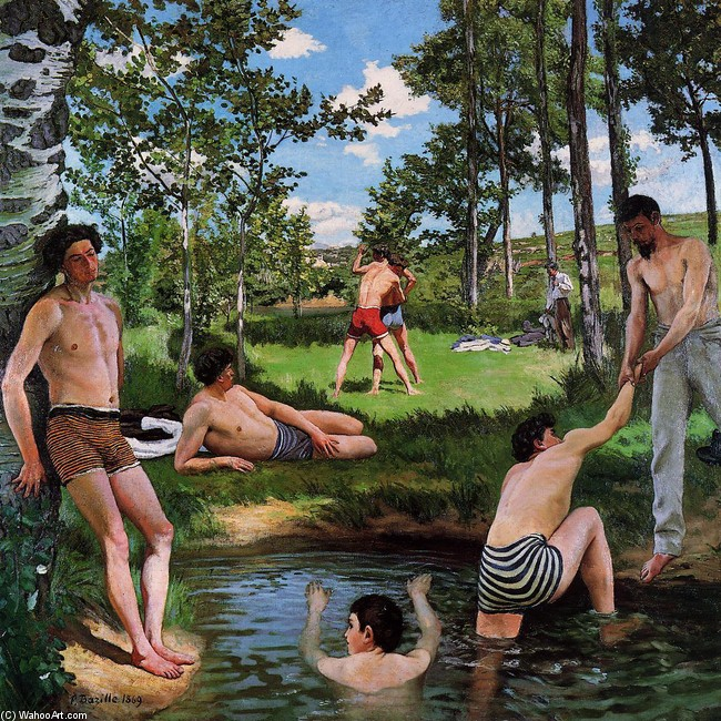 Jean Frederic Bazille >> Summer Scene (aka Bathers)  |  (, artwork, reproduction, copy, painting).