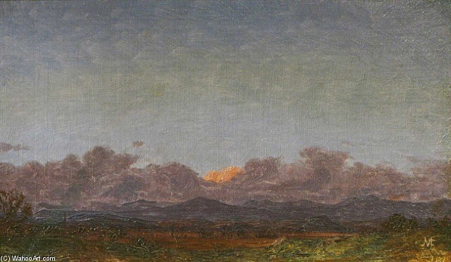 Jervis McEntee >> View of the Catskills at Rondout, New York  |  (, artwork, reproduction, copy, painting).