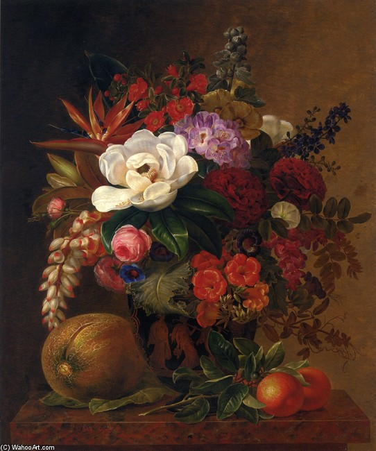 Johan Laurentz Jensen >> Exotic Blooms in a Grecian Urn with Fruit on a Marble Ledge  |  (, artwork, reproduction, copy, painting).