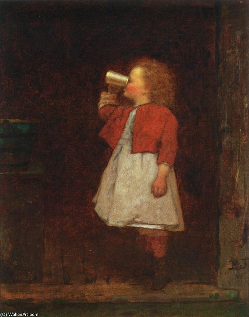 Jonathan Eastman Johnson >> Little Girl with Red Jacket Drinking from Mug  |  (, artwork, reproduction, copy, painting).