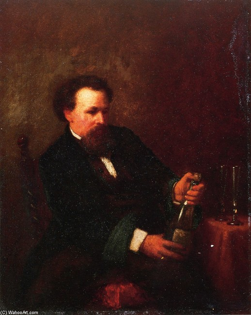 Jonathan Eastman Johnson >> Self Portrait with Bottle of Champagne  |  (, artwork, reproduction, copy, painting).