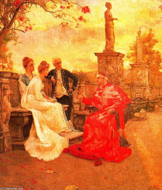 José Villegas Cordero >> Cardinal Reception In The Gardens Of Villa Borghese  |  (, artwork, reproduction, copy, painting).